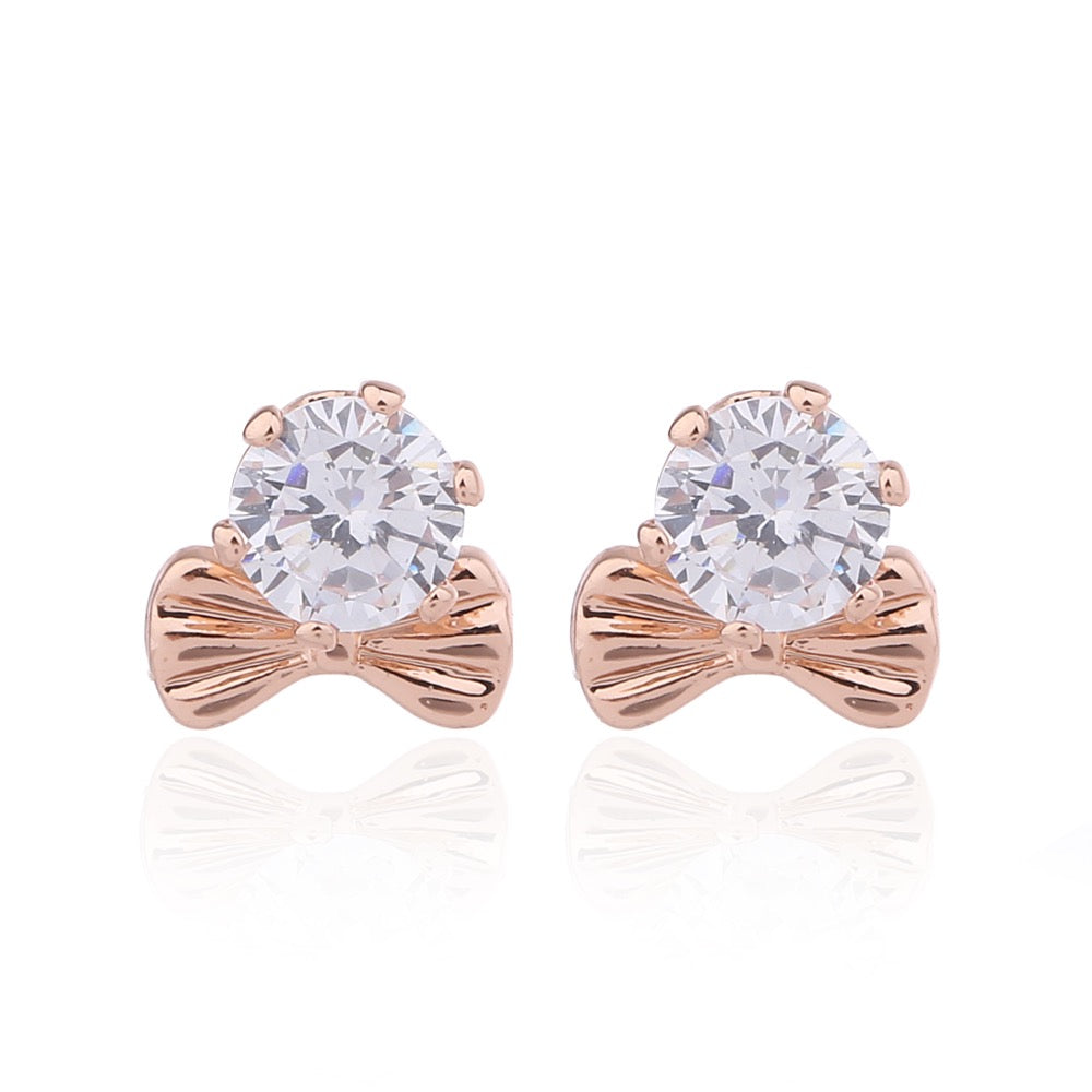 Delicate Ears Bow Crystal Earring Rose Gold Plating