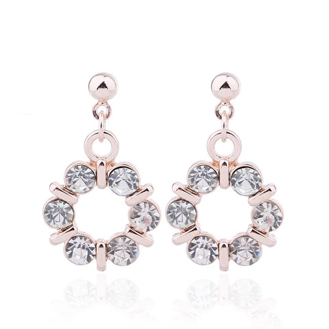 Delicate Ears Circle Crystal Earring Rose Gold Plating