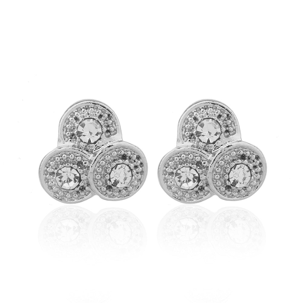 Delicate Ears Trio Crystal Earring Silver Plating
