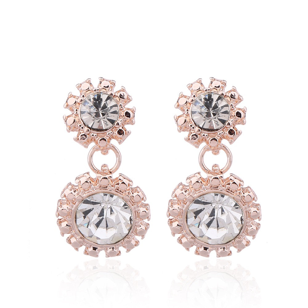 Delicate Ears Crystal Drop Earring Rose Gold Plating