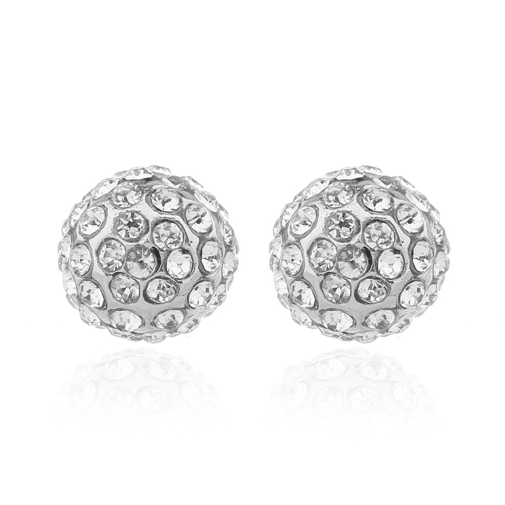 Delicate Ears Crystal Ball Earring Silver Plating