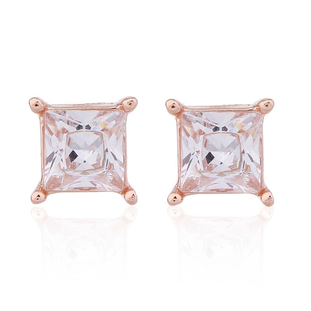 Delicate Ears Square Cubic Zirconia Earring Rose Gold Plating