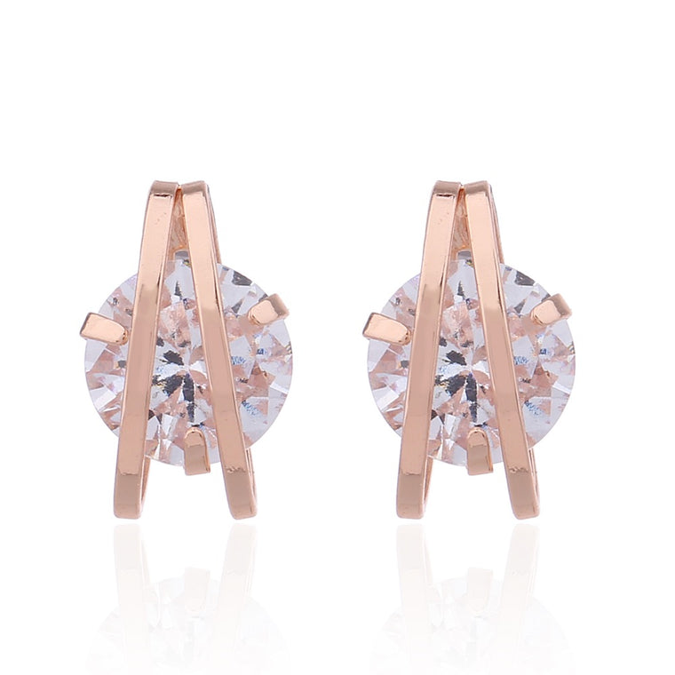 Delicate Ears Cubic Zirconia Earring Rose Gold Plating