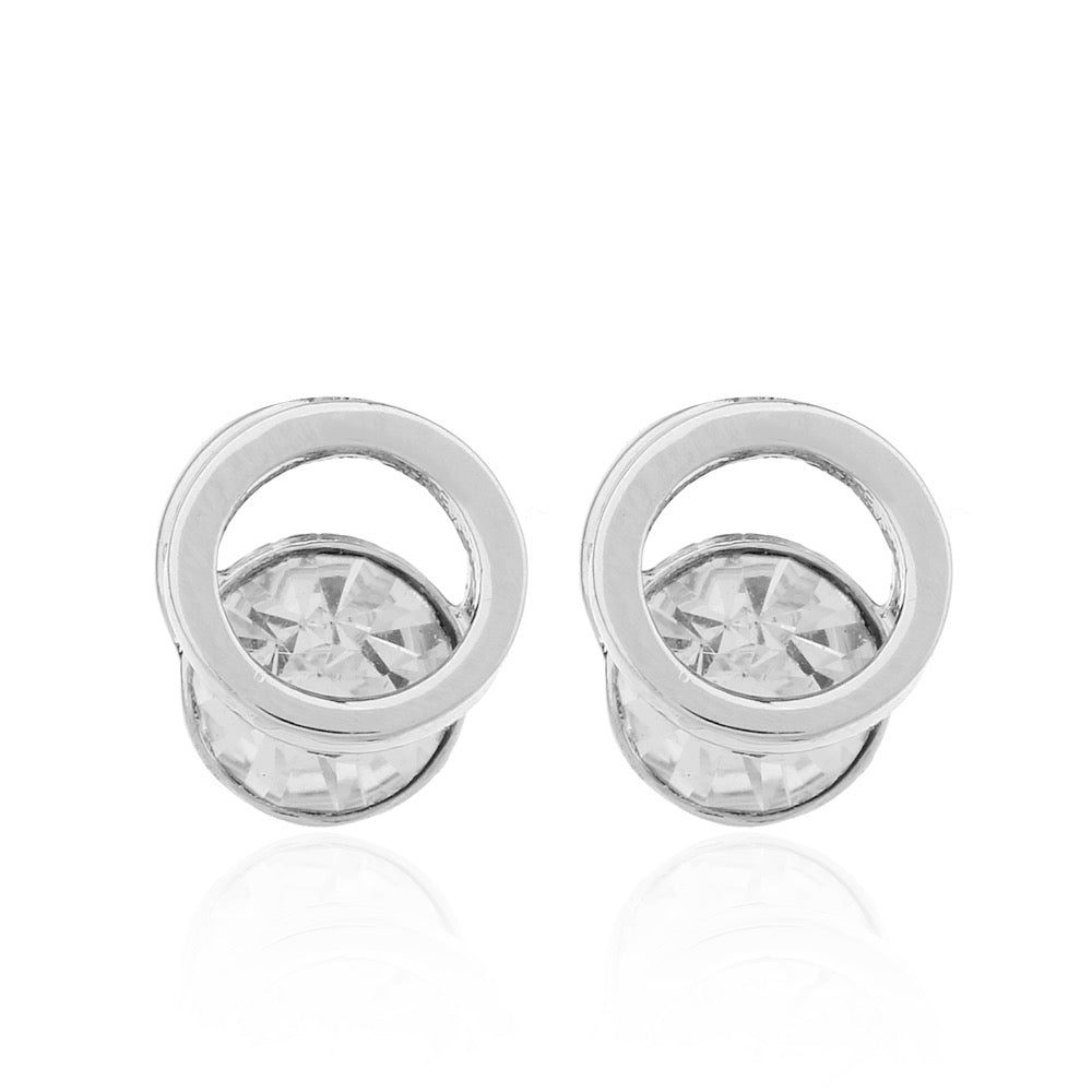 Delicate Ears Cubic Zirconia Circle Design Earring Silver Plating