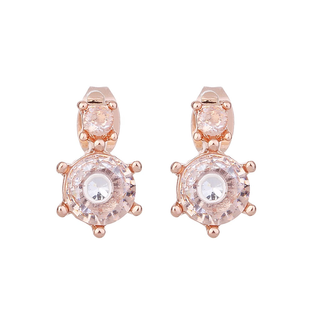 Delicate Ears Classic Crystal Earring Rose Gold Plating