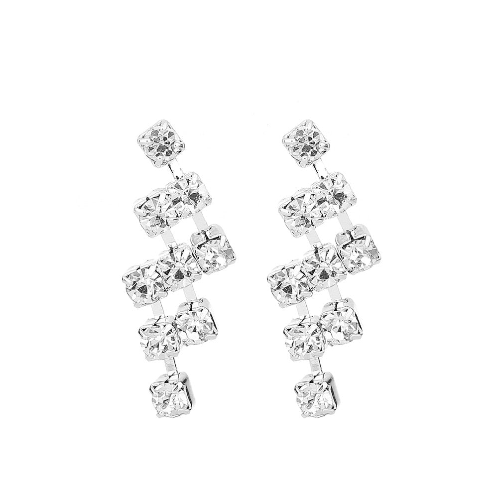 Delicate Ears Diamante Drop Earring Silver Plating
