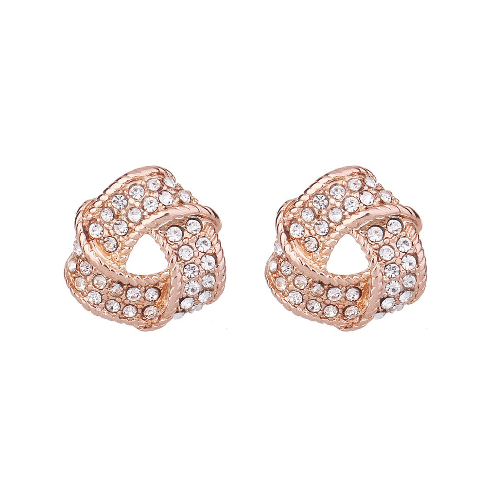 Delicate Ears Crystal Twirl Earring Rose Gold Plating