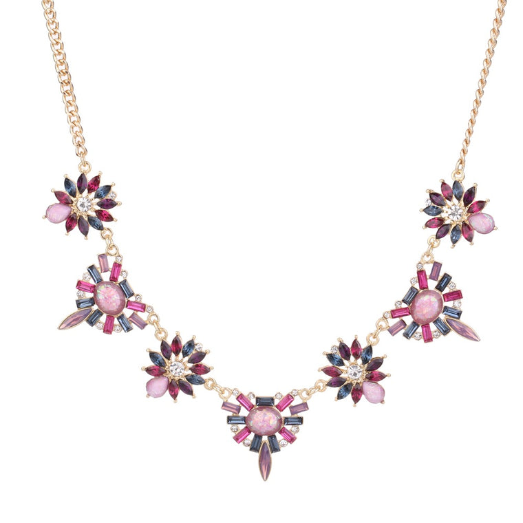 Gem Statement Necklace Purple Tone