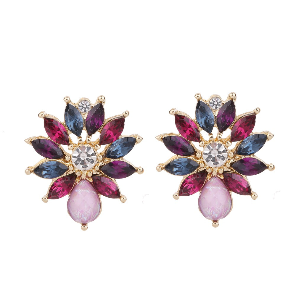 Gem Earring Purple Tone