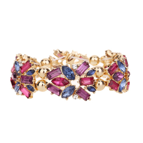 Gem Statement Bracelet Purple Tone