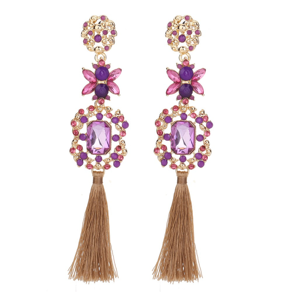 Statement Tassel Earring Purple Tone
