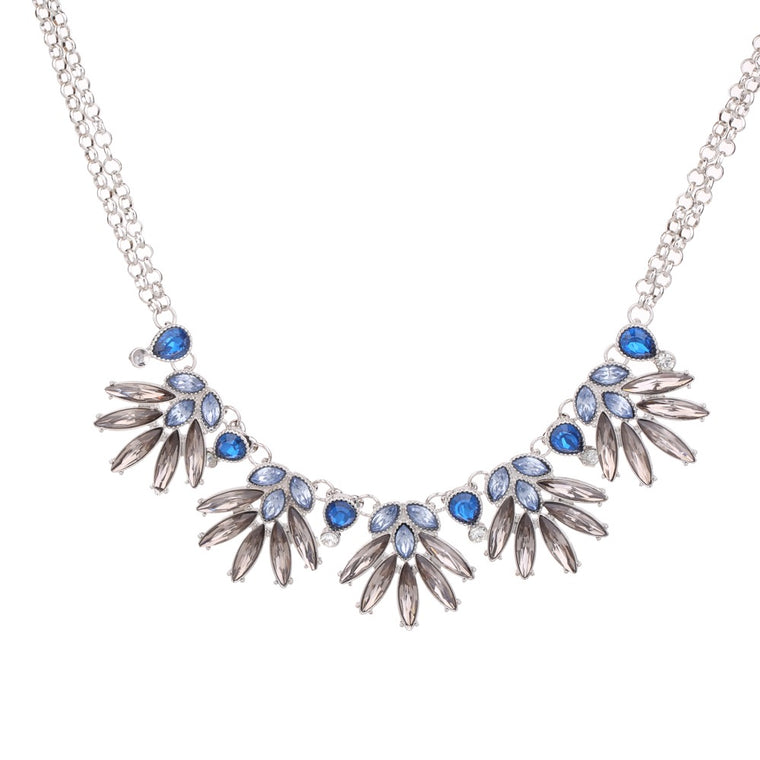 Gem Statement Necklace Blue Tone