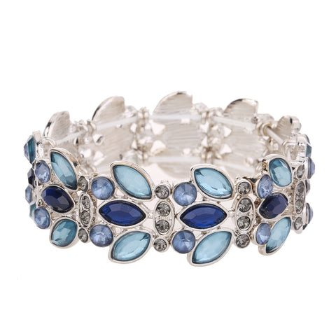 Gem Statement Bracelet Blue Tone