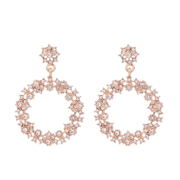 Circle Crystal Earring Rose Gold