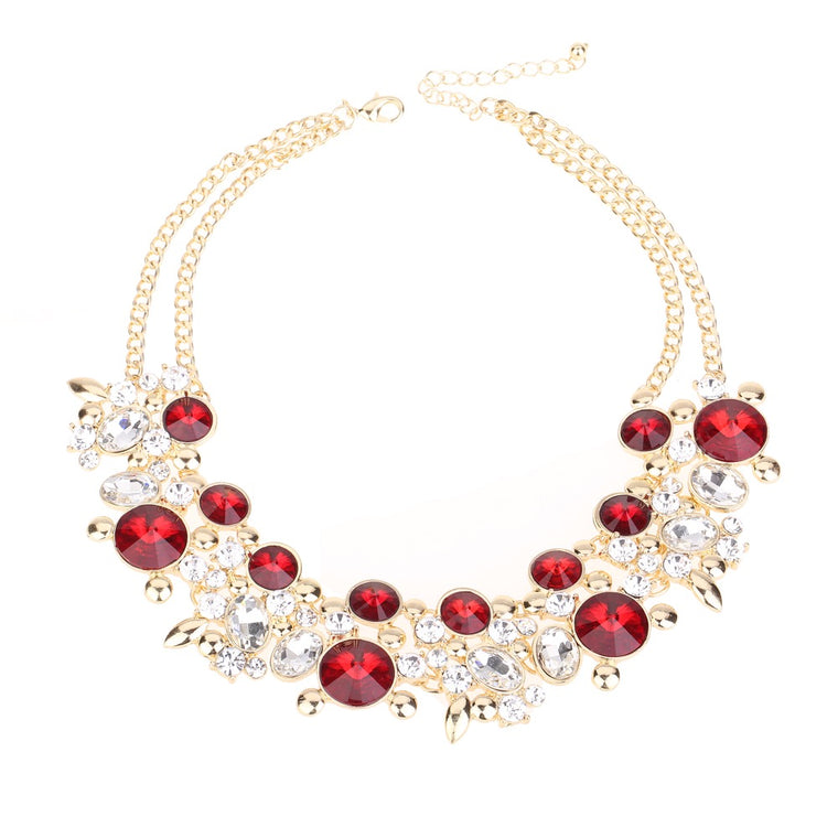 Crystal Statement Necklace Red Tone