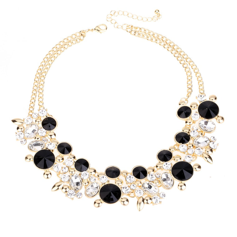 Crystal Statement Necklace Black Tone