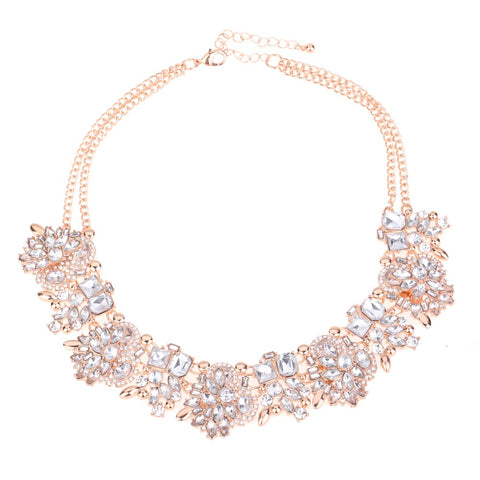 Crystal Statement Necklace Rose Gold