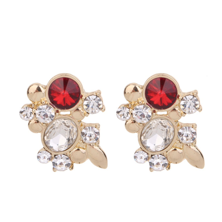 Crystal Earring Red Tone