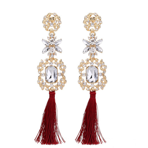 Statement Red Tassel Earring