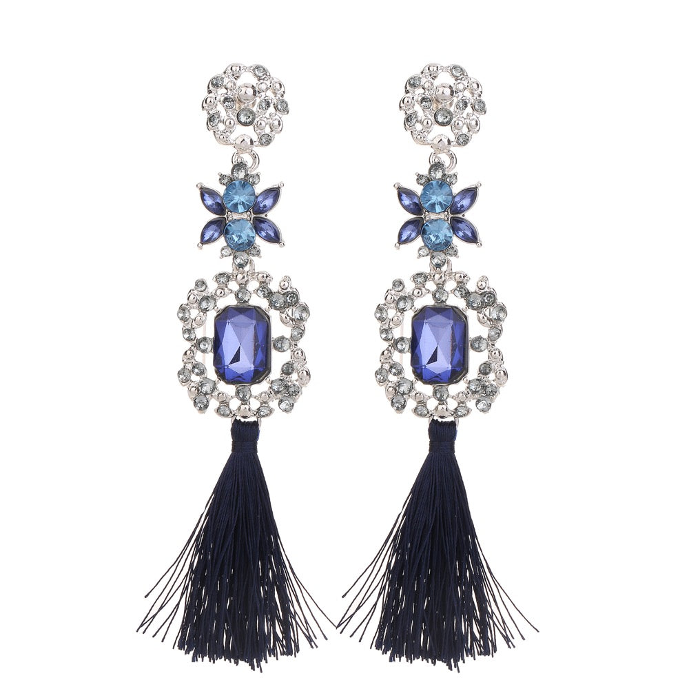 Gem Statement Tassel Earring