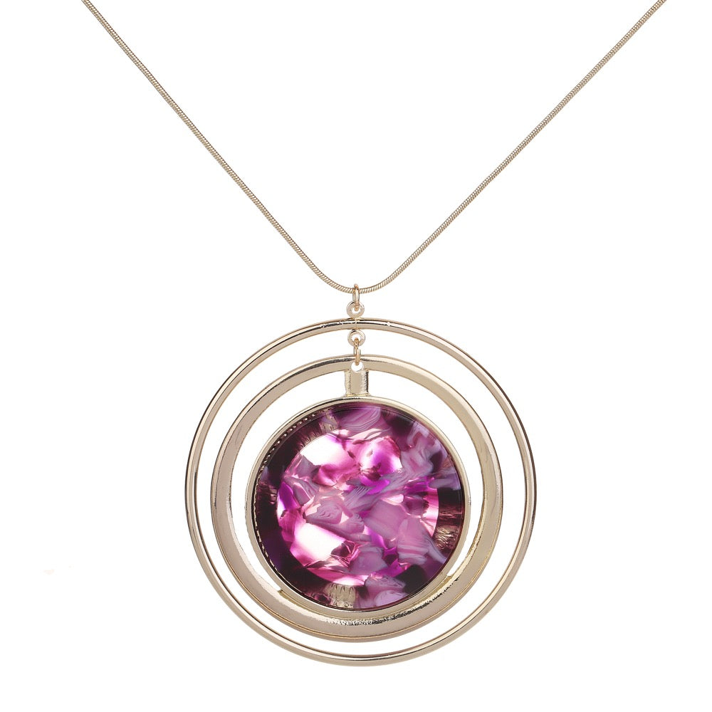 Marble Disc Necklace Purple