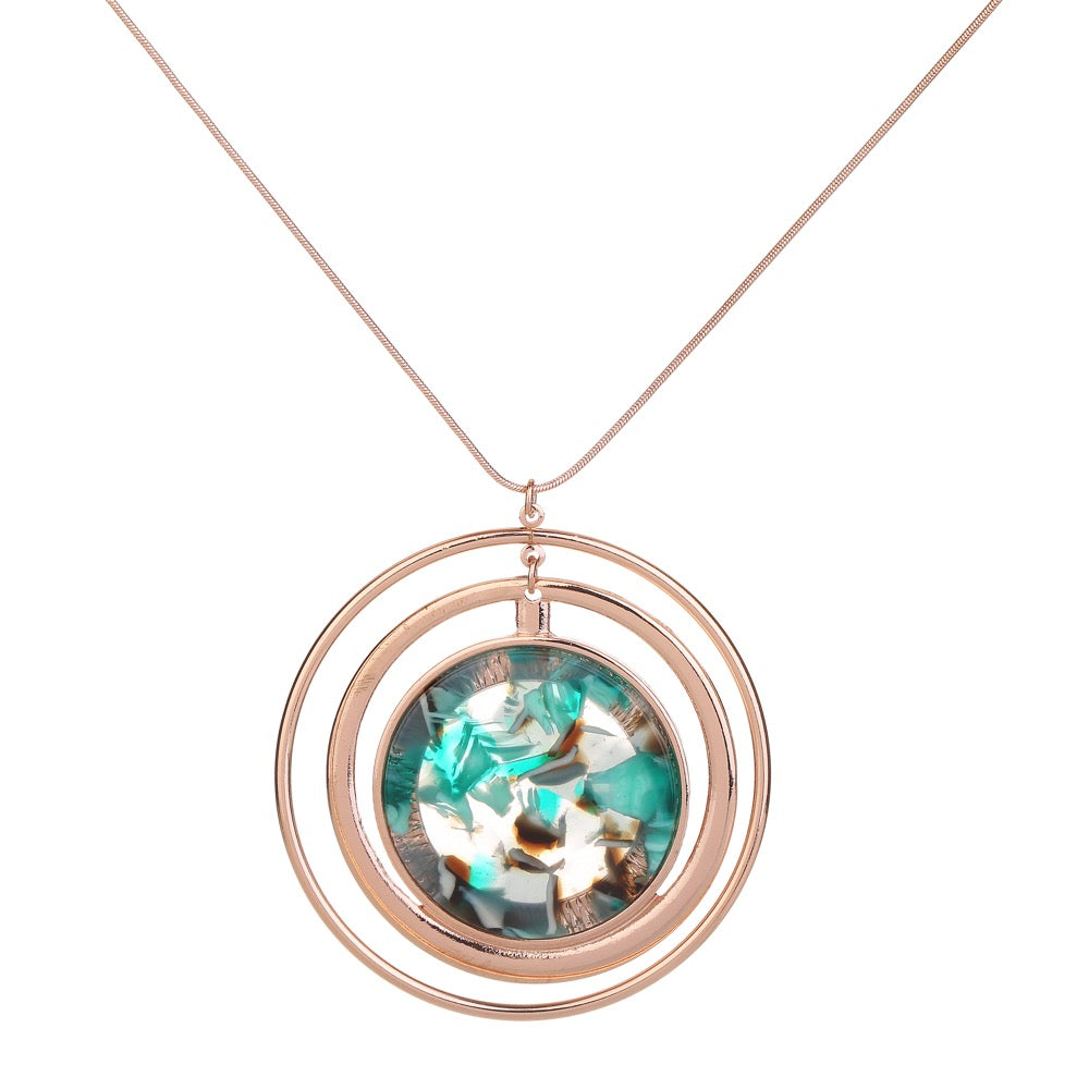 Marble Disc Necklace Green