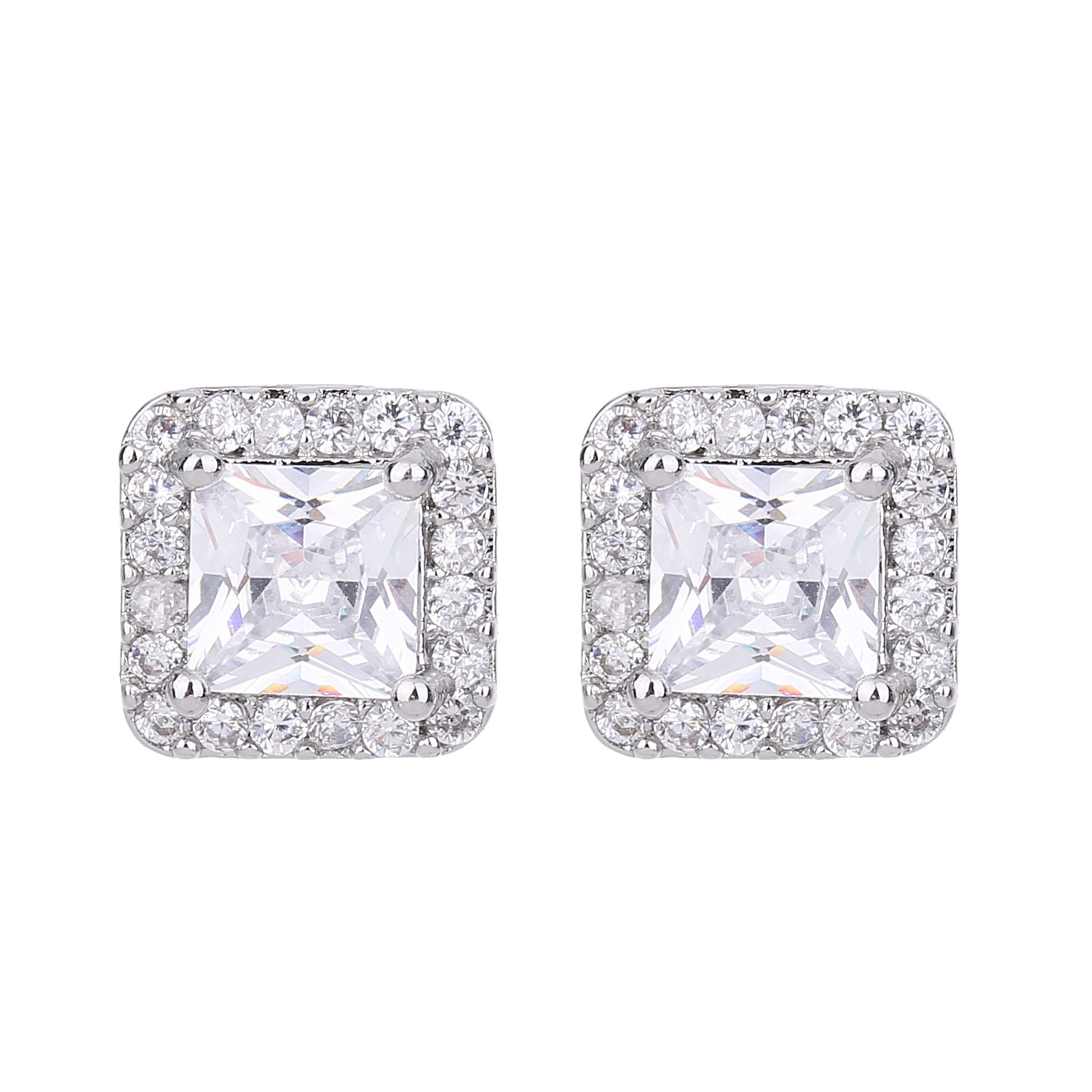 Serendipity Square CZ Earring Silver