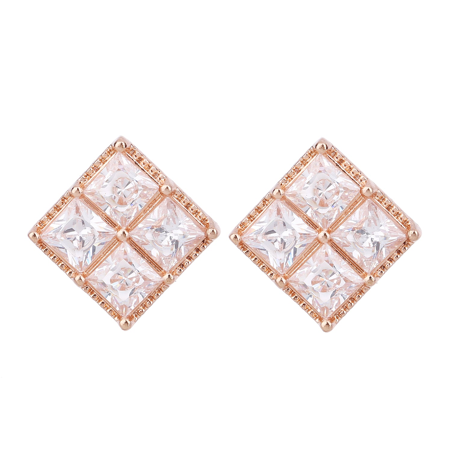 Serendipity Diamond Shaped Earring Rose Gold