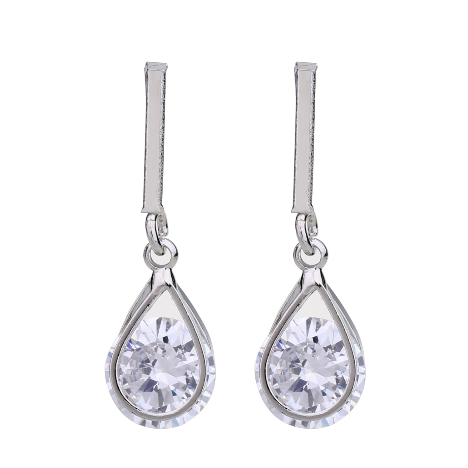 Delicate Ears Cz Drop Earring Silver Plating