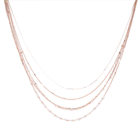 Multi Layer Necklace Rose Gold