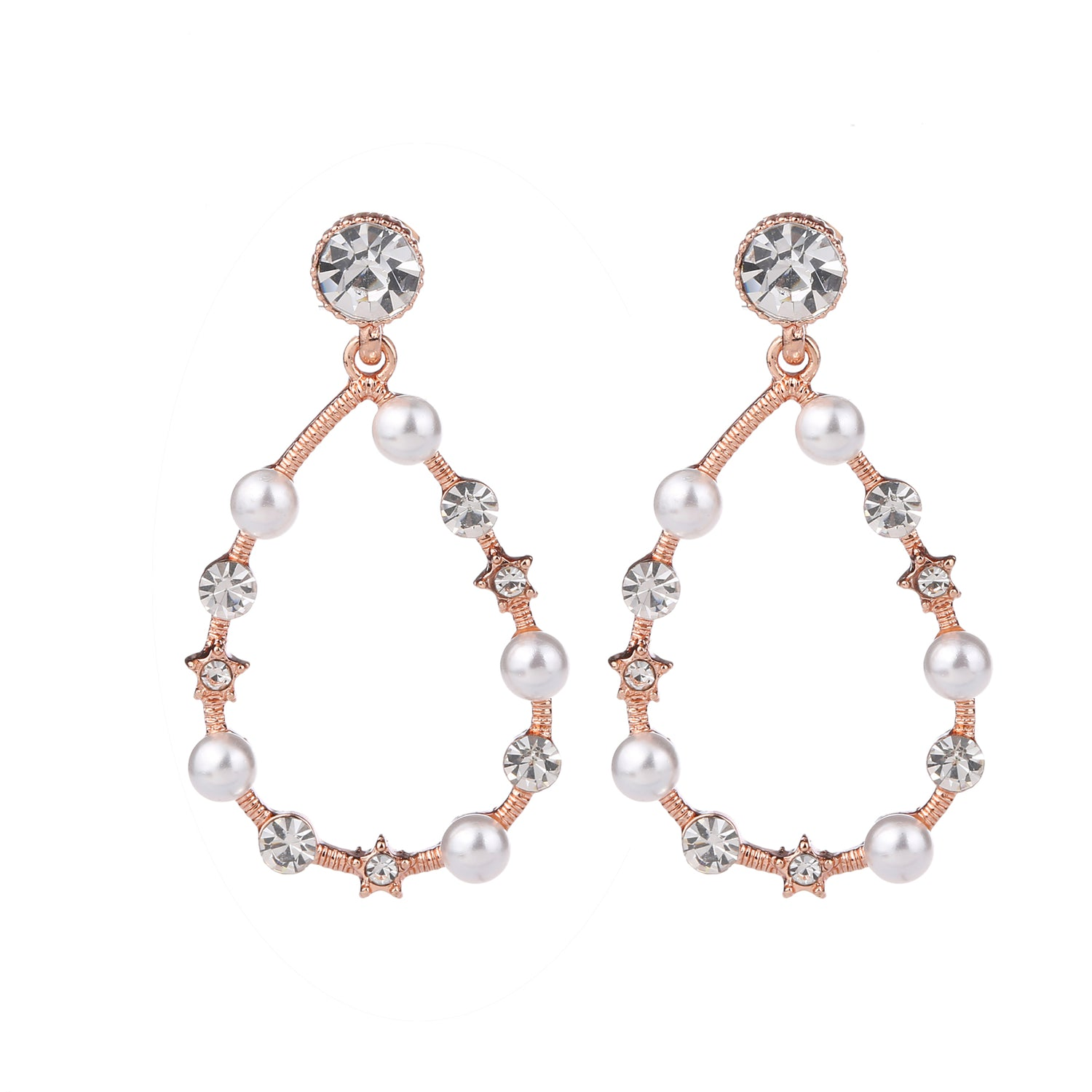 Crystal & Pearl Earring Rose Gold