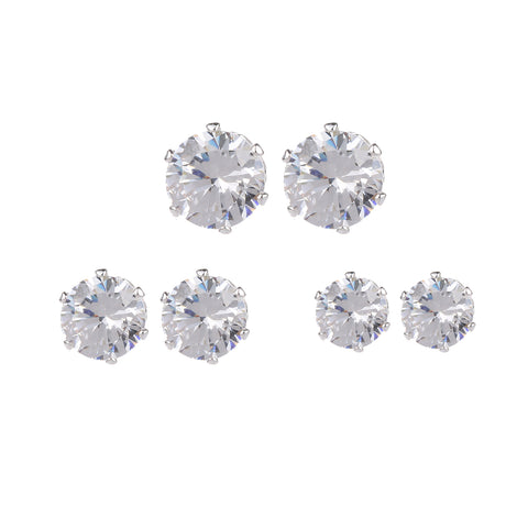 3pk Cubic Zirconia Stud Earrings