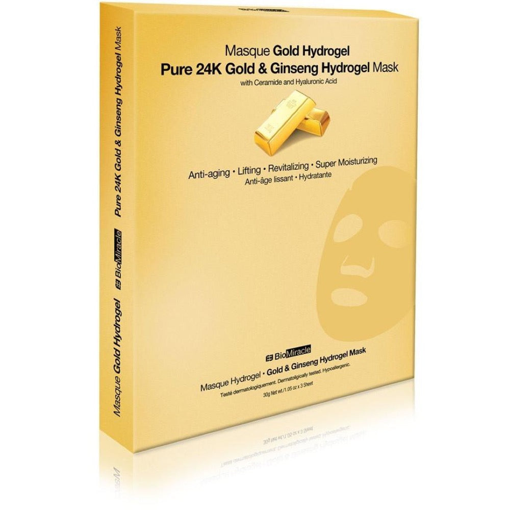BioMiracle Jewel Series Gold & Ginseng Hydrogel Mask 3 Pack