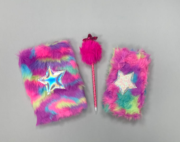 Sparkle Fur Notebook, Pen & Wallet Set