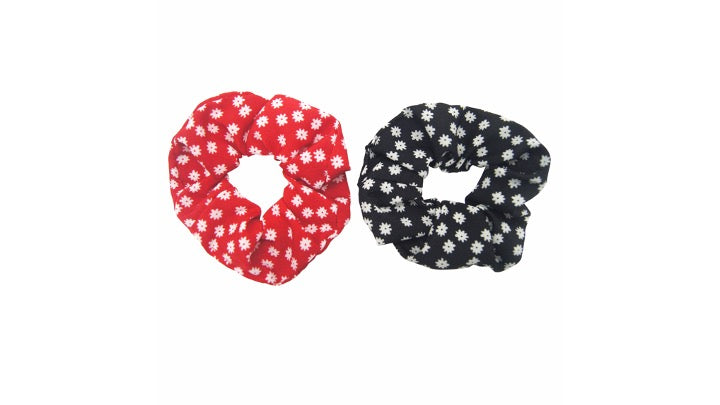 Pulse Professional 2pk Floral Scrunchie Black&Red