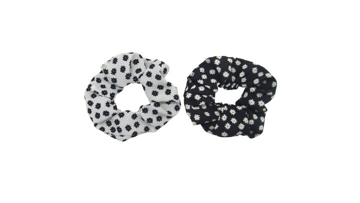Pulse Professional 2pk Floral Scrunchie Black&White