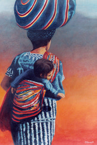 Mother and Child in Guatemala - Original art print on canvas