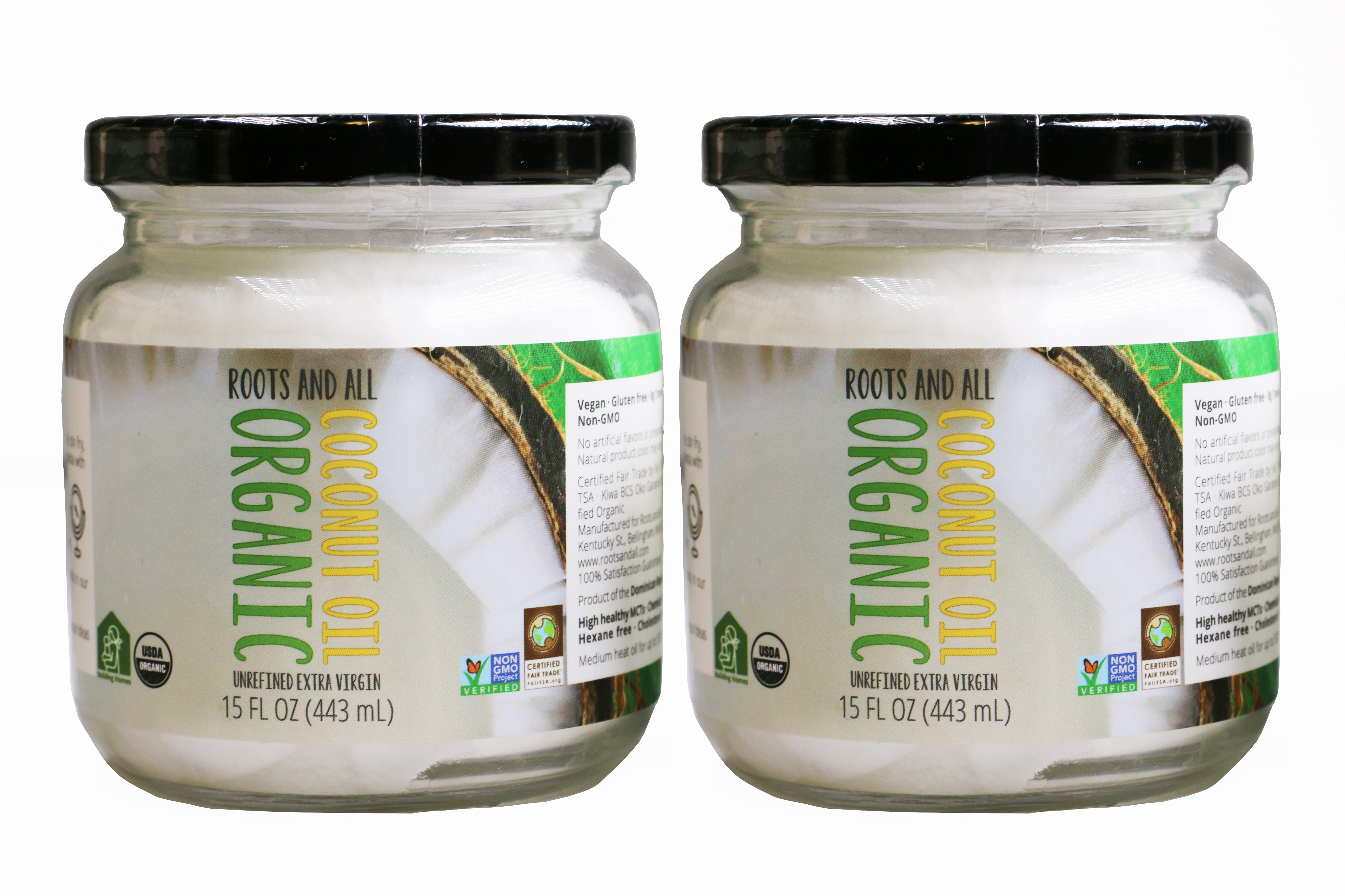 (2 Pack) Organic Extra Virgin Unrefined Coconut Oil, 15oz Glass Jars + Free TWO-DAY Shipping (Anywhere in continental United States)