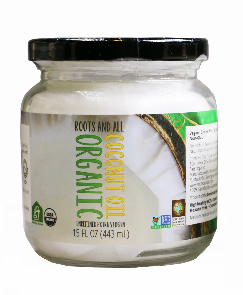 Organic Extra Virgin Unrefined Coconut Oil, 15oz Glass Jar + Free Standard Shipping