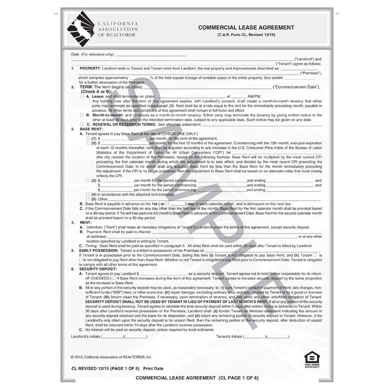 Cl Commercial Lease Agreement