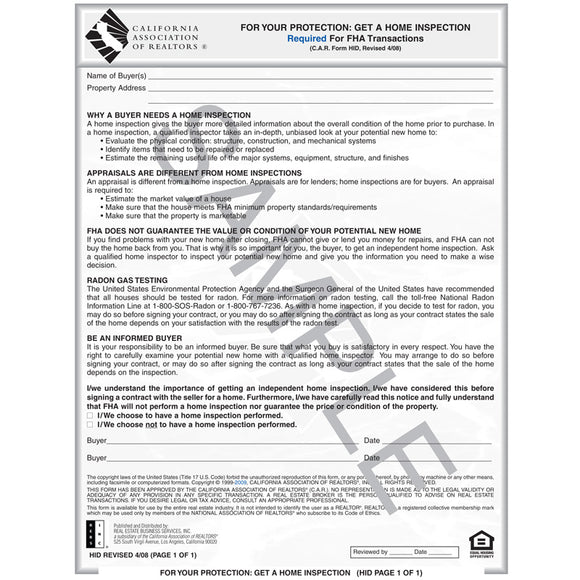 HID - Hud Notice to Purchase