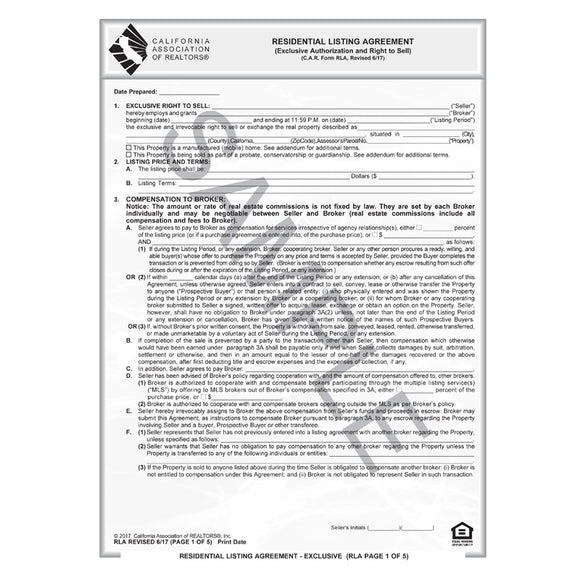 Residential Listing Agreement Gallery  Agreement Letter Format
