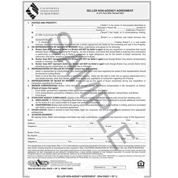 SNA - Seller Non-Agency Agreement