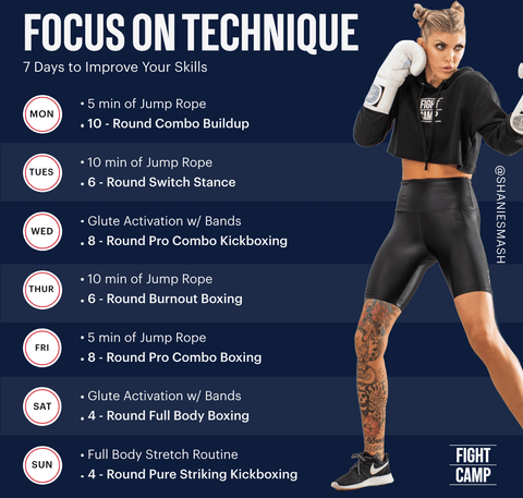 7-Day Boxing Technique and Focus Workout Program featuring jump rope warmups, boxing combos, kickboxing combos, and switch stance drills
