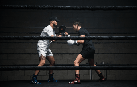 Tommy Duquette Doing Boxing Mitt Drills With Aaron Swenson