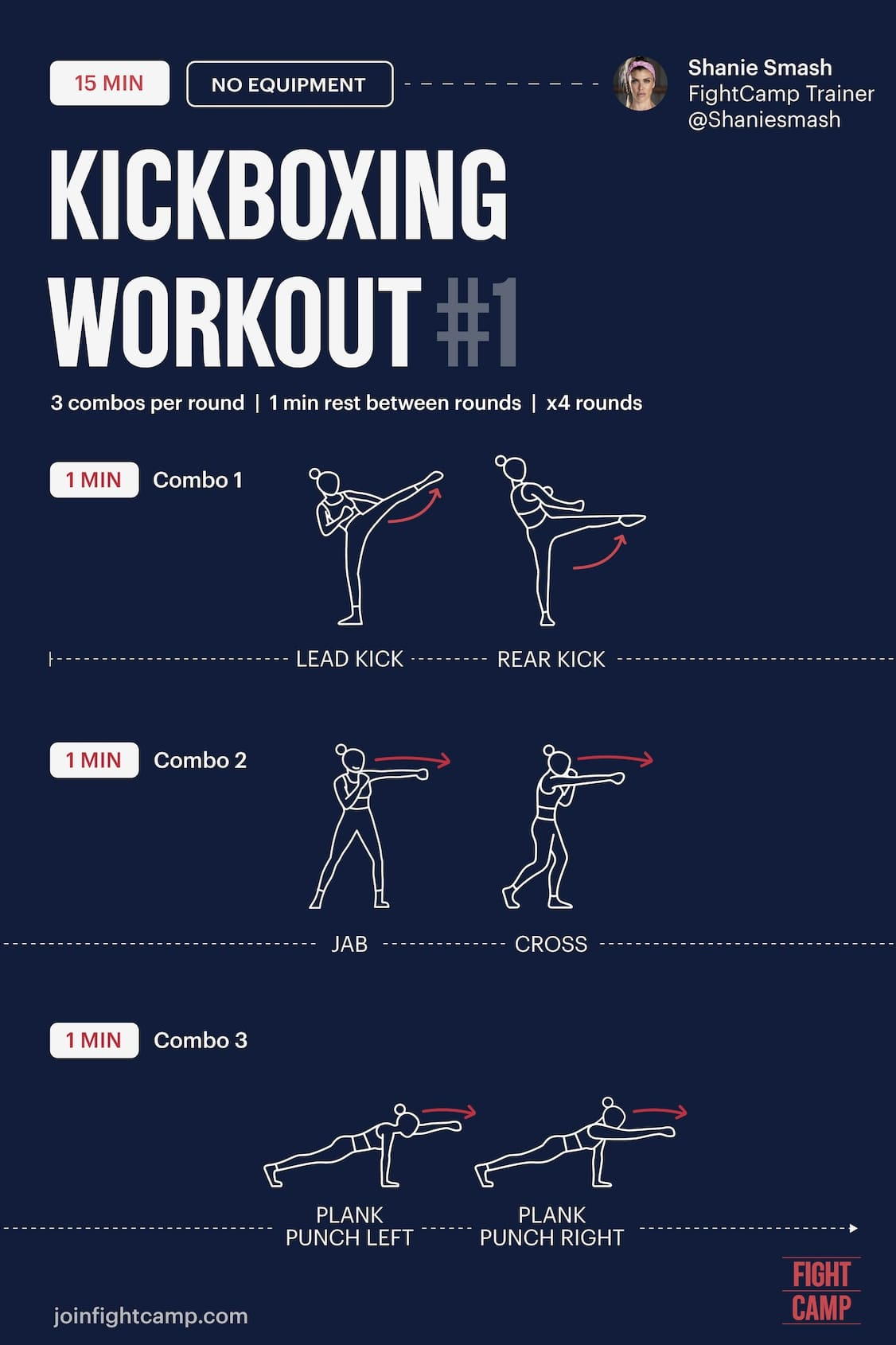 FREE 15 Minute Kickboxing Workout Infographic