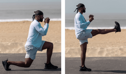 FightCamp Trainer Coach PJ Doing a Reverse Lunge + Forward Kick on the Beach