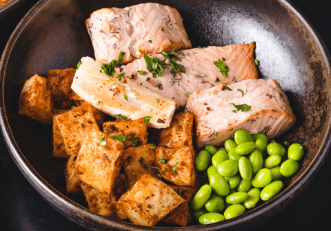 Salmon, Tofu, and Soy Beans Bowl