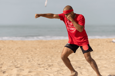 FightCamp Trainer Flo Master Shadowboxing on the Beach