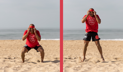 FightCamp Trainer Flo Master Doing Squat Jumps on the Beach